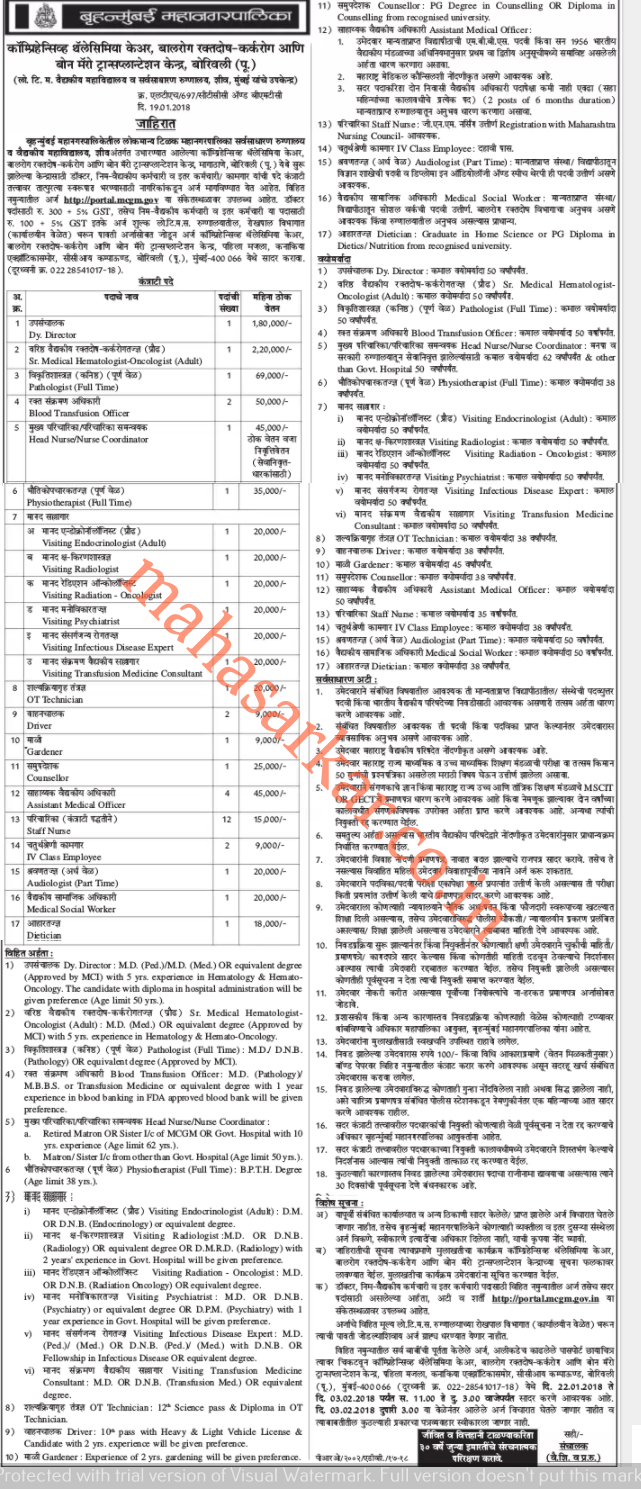 BMC's Lokmanya Tilak Municipal General Hospital Recruitment 2018