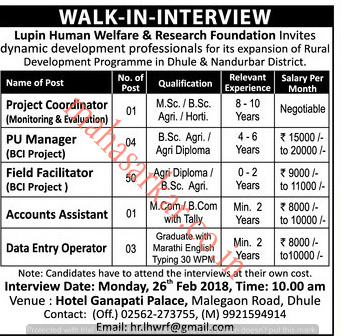 Lupin Foundation Dhule Recruitment 2018 Apply Offline For 59 Posts