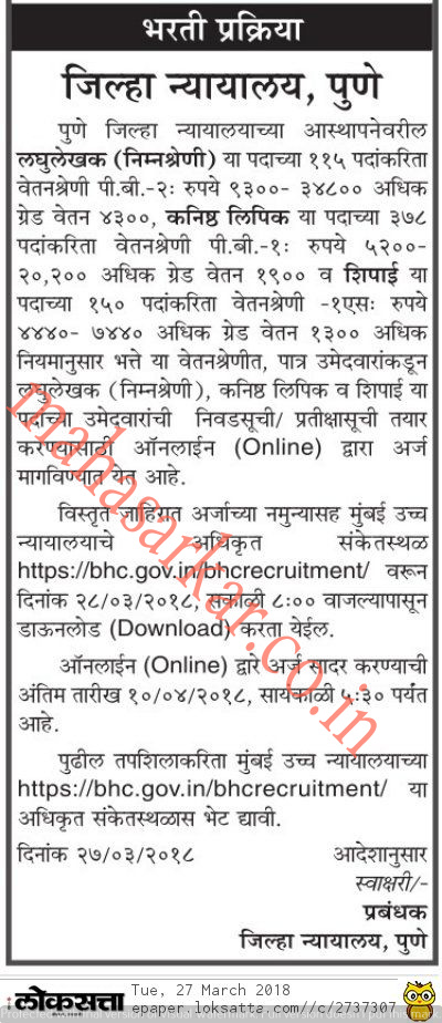 Pune District Court Recruitment 2018 Apply Online For 643 Posts