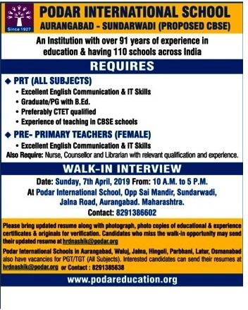 Podar International School Recruitment 2019